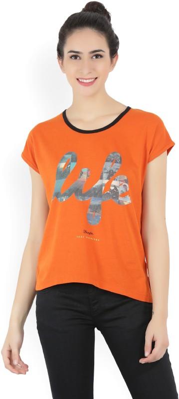 Wrangler Printed Womens Round Neck Orange T-Shirt