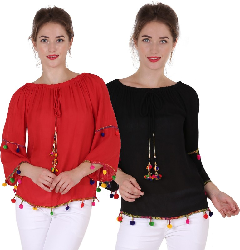 Kannan Casual 3/4th Sleeve Solid Women's Red, Black Top