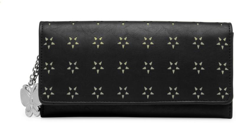 Butterflies Women Black Artificial Leather Wallet(5 Card Slots)