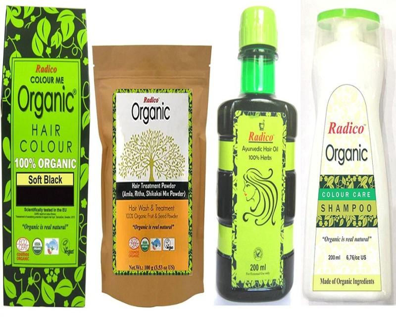 Radico 100% Organic Soft Black With Hair Treatment & Ayurvedic Hair Oil And Organic Color Care Shampoo(Set of 4)