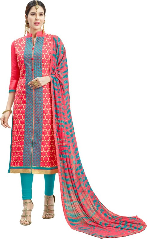Manvaa Chanderi Cotton Embroidered Semi-stitched Salwar Suit Dupatta Material