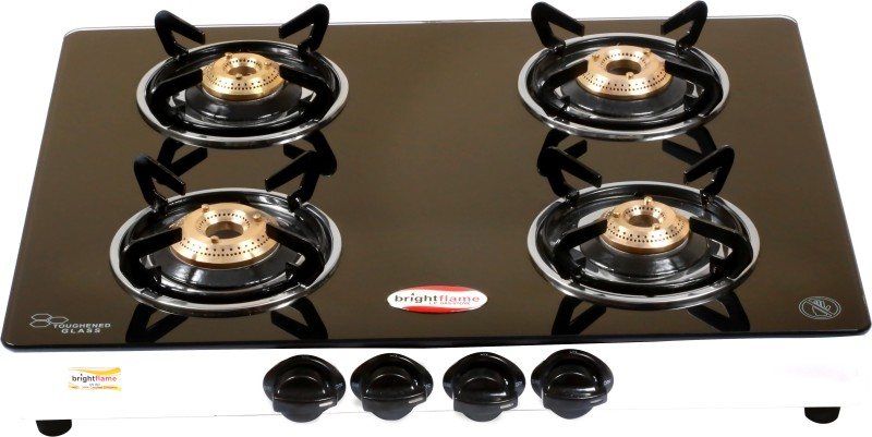 Bright Flame 4 Burner Glass Stainless Steel Automatic Gas Stove(4 Burners)