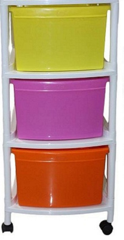 Wud Kraft Plastic Wall Shelf(Number of Shelves - 4, Multicolor)
