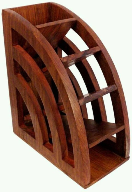 CraftOnline carvin wood remote stand Wooden Wall Shelf(Number of Shelves - 5, Brown)