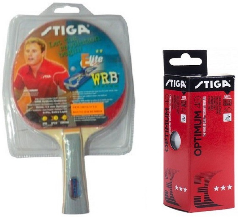 stiga Combo of Two , One ELITE Table Tennis Racquet and One Optimum 40 + Ping Pong Ball set (pack of 3)- Multicolor Table Tennis Racquet(G4, Weight - 80 g)