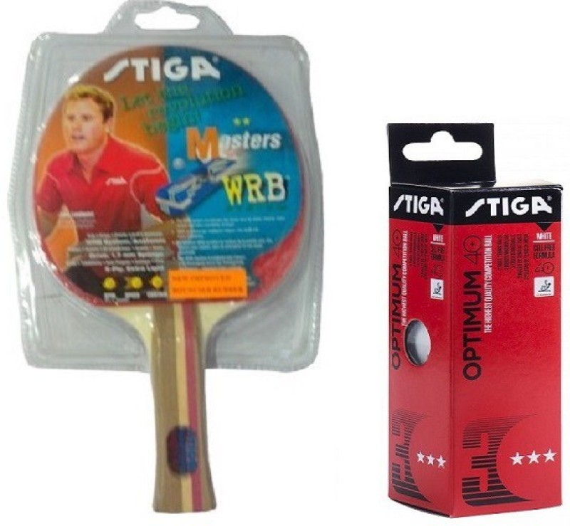 stiga Combo of Two , One Masters Table Tennis Racquet and One Optimum 40+ Ping Pong Ball- Multicolor Table Tennis Racquet(G4, Weight - 80 g)