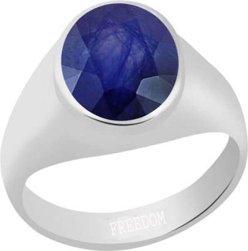 Freedom Natural Certified Blue Sapphire (Neelam) Gemstone 10.25 Ratti or 9.32 Carat for Male Sterling Silver Ring