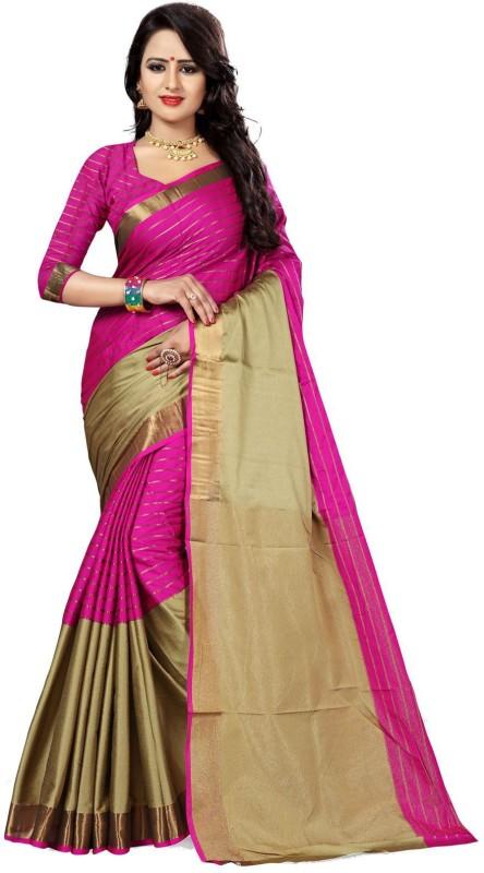 The Fashion Outlets Self Design Kanjivaram Cotton, Silk Saree(Pink)