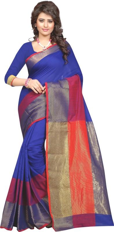 SNH Export Self Design Bollywood Jacquard Saree(Blue)