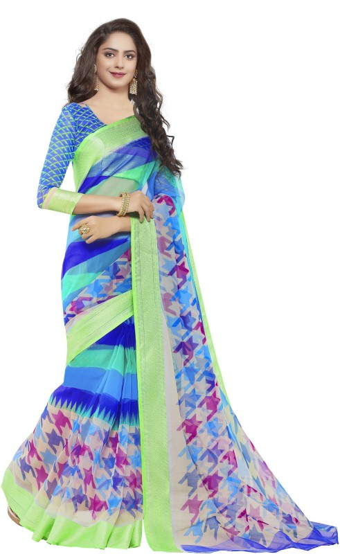 Gugaliya Printed Bollywood Organza Saree(Multicolor)