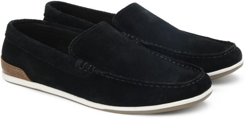 Clarks Medly Sun Black Sde Loafers For Men(Black)