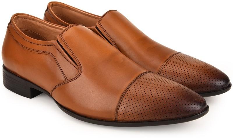 Escaro Mens Shoes Formal Slip On For Men(Tan)