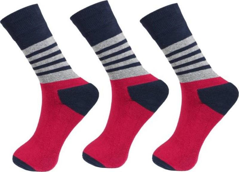 U.S. Polo Assn Men Striped Crew Length Socks(Pack of 3)