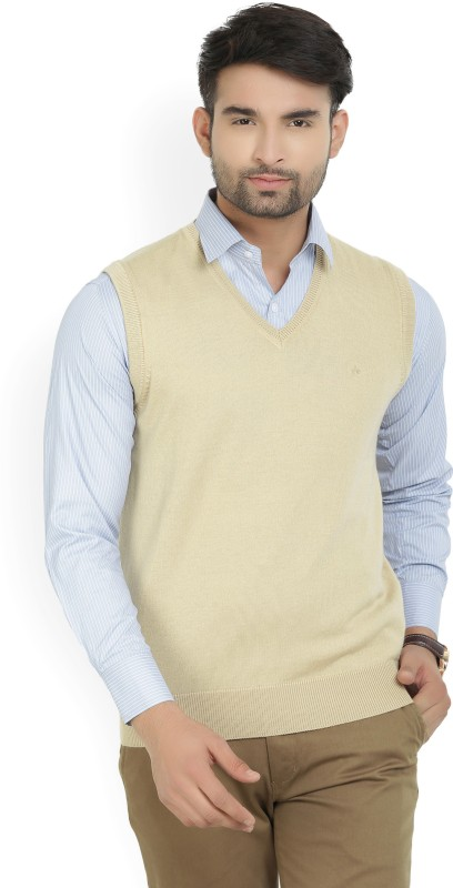 Arrow Solid V-neck Formal Mens Beige Sweater