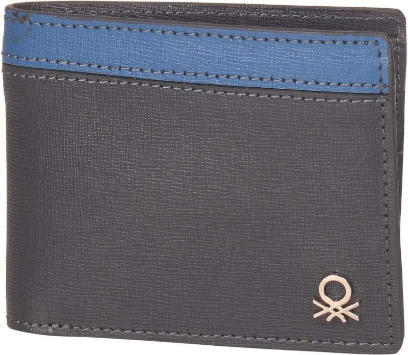 United Colors of Benetton Men Blue Genuine Leather Wallet(6 Card Slots)