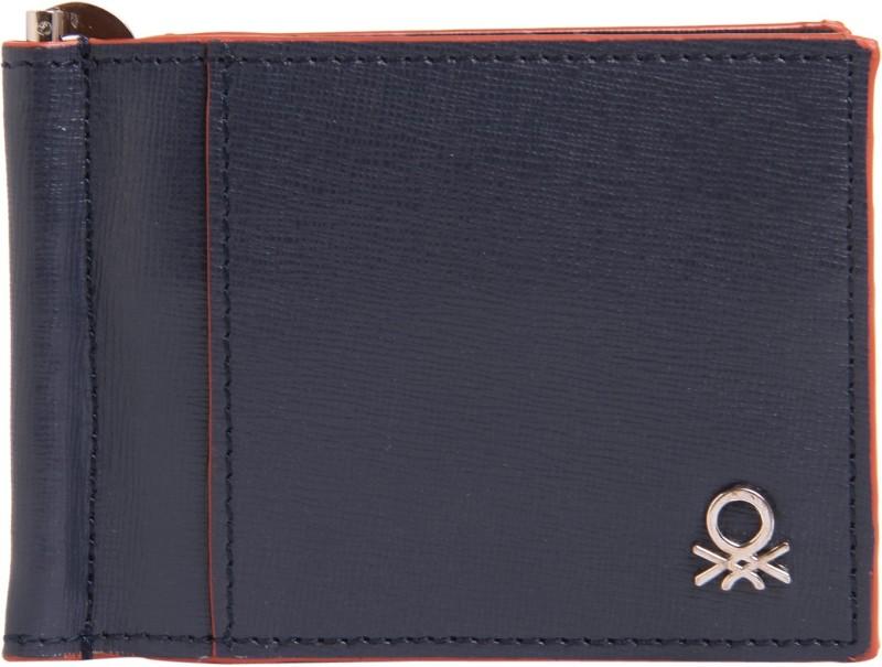 United Colors of Benetton Men Blue Genuine Leather Money Clip(6 Card Slots)