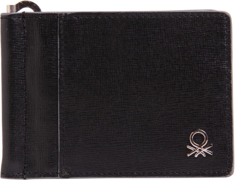 United Colors of Benetton Men Black Genuine Leather Money Clip(6 Card Slots)