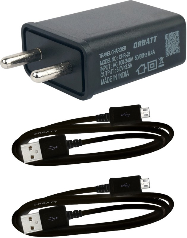 Orbatt 2.5A Fast Charger With Two Charge & Sync Usb Cables Mobile Charger(Black, Cable Included)