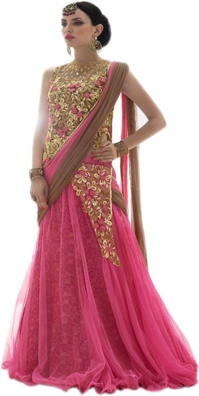 Ap Enterprise Embroidered Lehenga Choli(Pink)