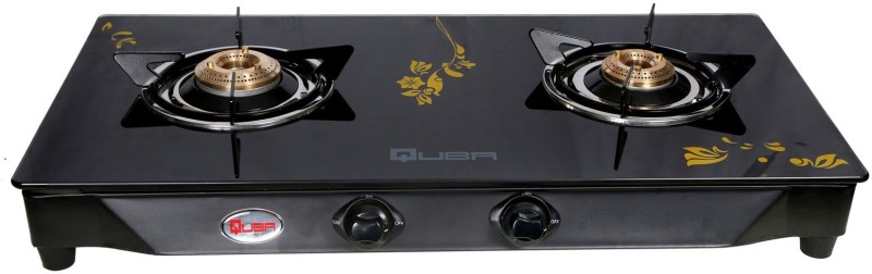 Quba B2 Golden Flower Rectangle Digital Glass Cast Iron Automatic Gas Stove(2 Burners)