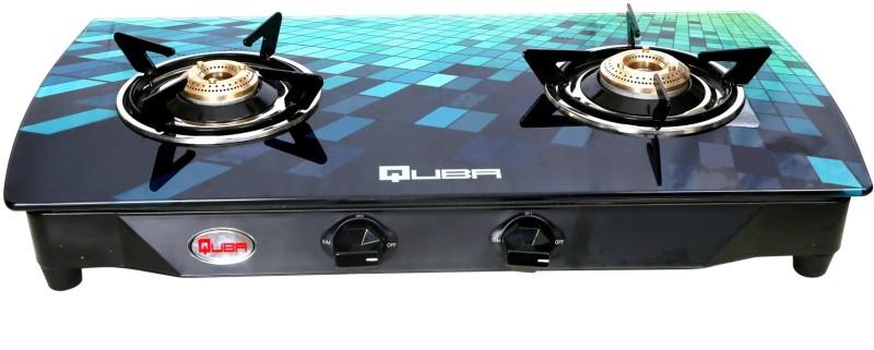 Quba B2 Blue Diamond Arc Digital Premium Glass Cast Iron Manual Gas Stove(2 Burners)