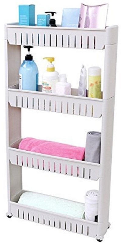 ShopAis Vertical 4 Layer Space Saving Storage Organizer Rack Shelf With Wheels For Kitchen Bathroom  Plastic Kitchen Trolley