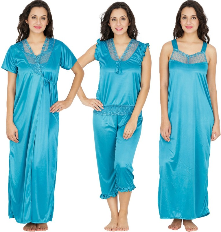 Klamotten Women's Nighty with Robe, Top and Capri(Blue)