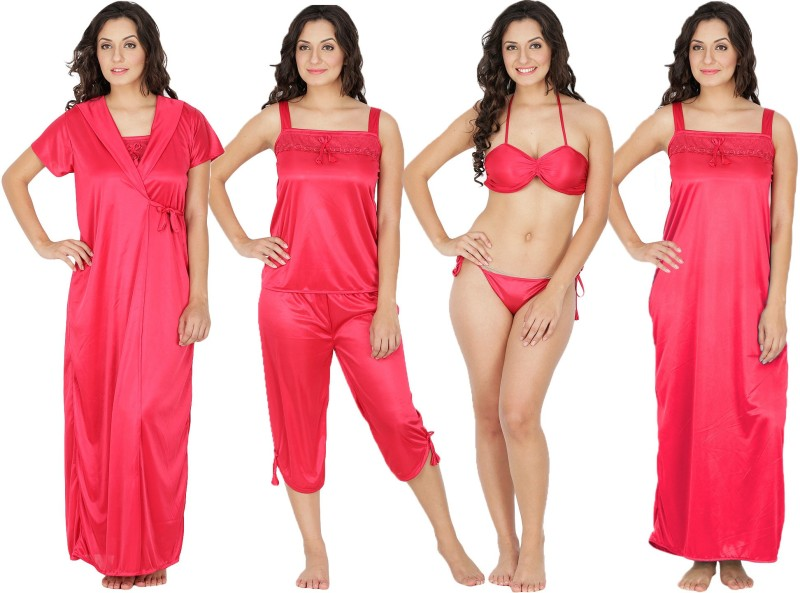 Klamotten Women's Nighty with Robe, Top and Capri(Red)