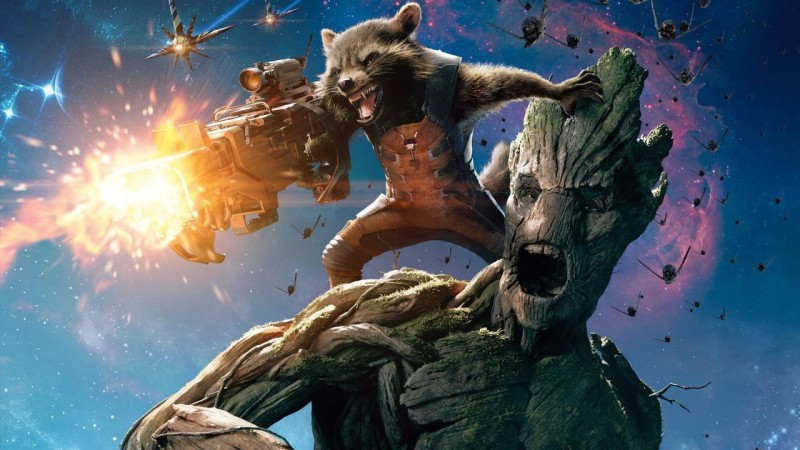 Mahalaxmi Movie Guardians Of The Galaxy Rocket Raccoon Groot Print Poster on 13x19 Inches Paper Print(19 inch X 13 inch, Rolled)