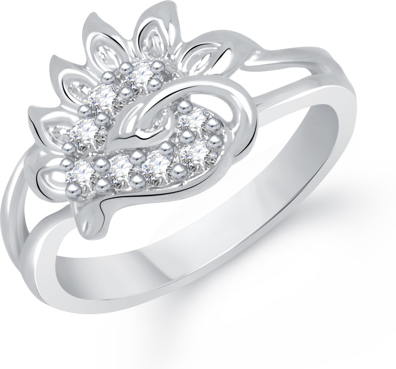 Divastri Lovely Leaf Alloy Cubic Zirconia Rhodium Plated Ring