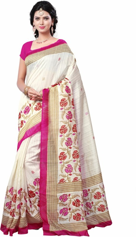 Saara Plain, Self Design, Solid, Printed Daily Wear Cotton, Silk Saree(White, Pink)