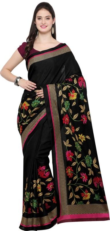 Saara Floral Print, Printed Daily Wear Tussar Silk Saree(Black)