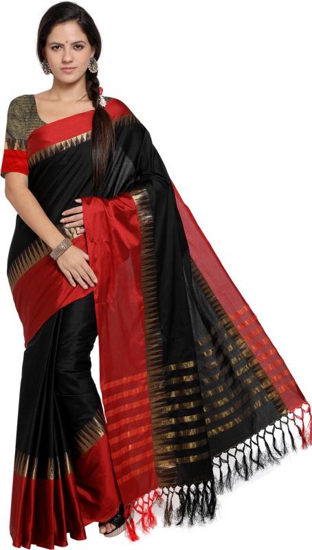 EthnicJunction Solid, Self Design Fashion Cotton Silk Saree(Black, Red)