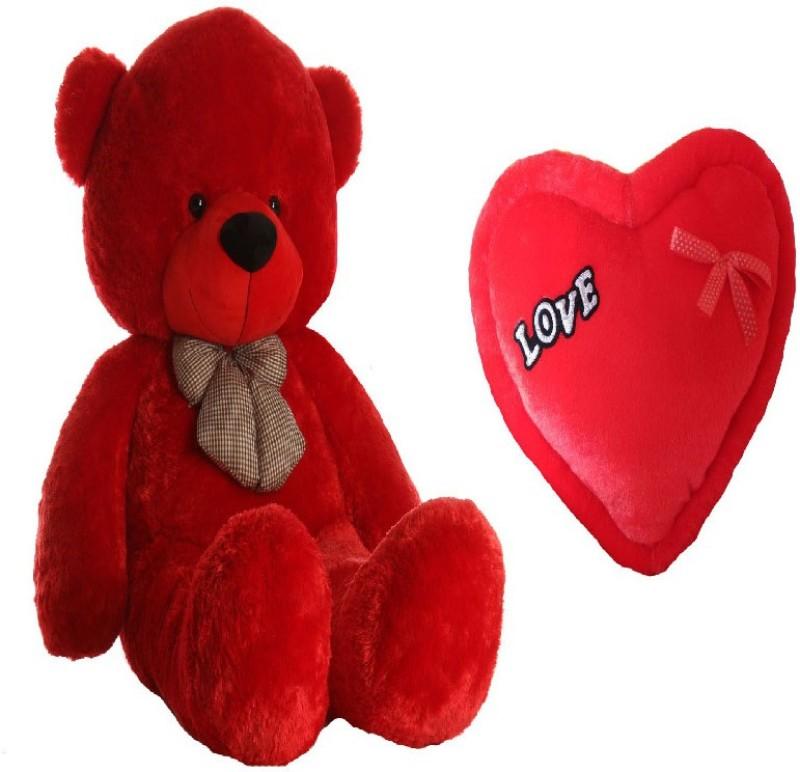 AVS Combo of Stuffed Spongy Hugable Cute Teddy Bear 3 Feet & Love Heart 35 CM For Girl Friend Gift - (Red Color) - 91 cm(Red)