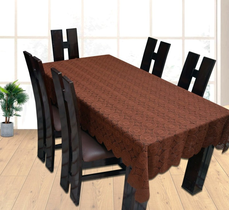 Yellow Weaves Self Design 6 Seater Table Cover(Brown, Polyester)