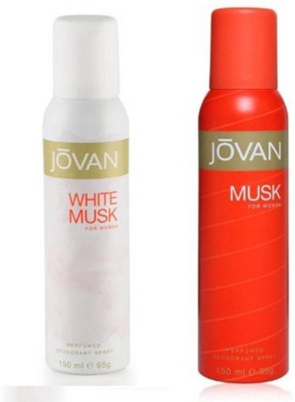 Jovan White & Musk Combo Set�(Set of 2) Deodorant Spray - For Women(300 ml, Pack of 2)
