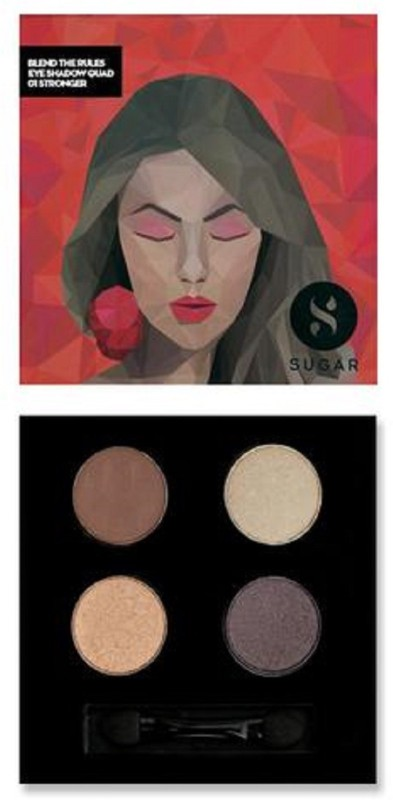 Sugar BLEND THE RULES EYESHADOW QUAD - 01 Stronger 5 g(MEDIUM BROWN, CHAMPAGNE GOLD, BRONZE GOLD, METALLIC CHOCOLATE)