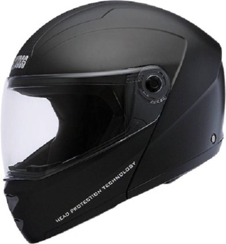 Studds NINJA ELITE SUPER GLOSSY FLIPUP ISI CERTIFED (GLOSSY BLACK WITH CARBON CENTER STRIP) Motorbike Helmet(NINJA ELITE SUPER)
