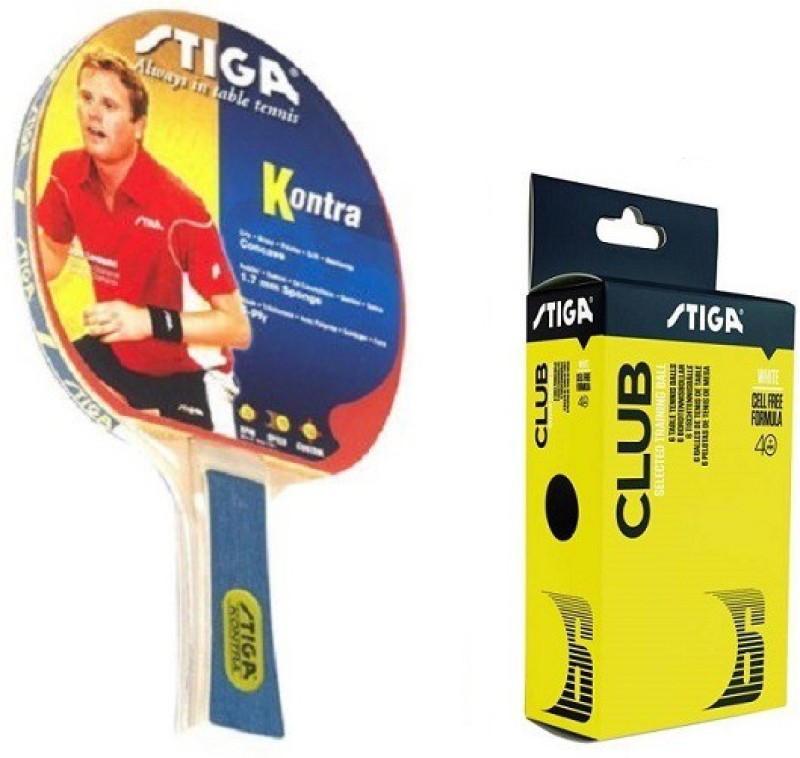 Stiga Combo Of Two, One Kontra Table tennis Racquet , and One CLUB 40+ Ping Pong Ball Box- Table Tennis Kit
