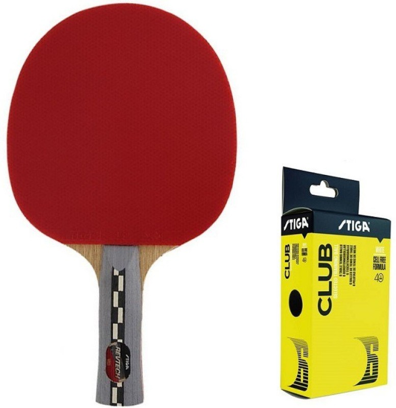 stiga Combo of Two , One Revtech Table Tennis Racquet and One Club 40 + Ping Pong Ball box - Multicolor Table Tennis Racquet(G4, Weight - 80 g)