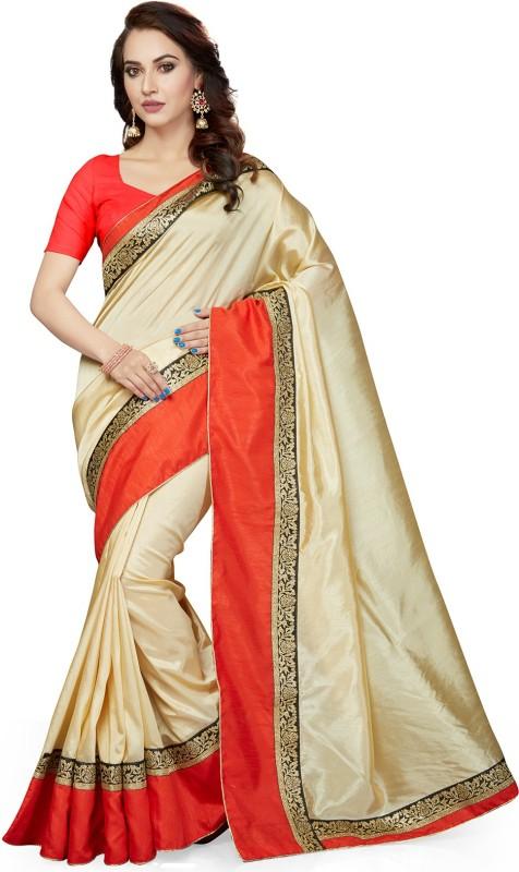 Ishin Solid Bollywood Poly Silk Saree(Beige)