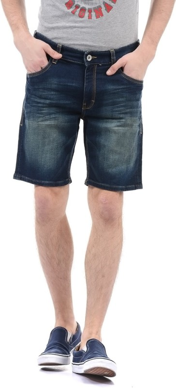 Izod Solid Men Denim Dark Blue Basic Shorts