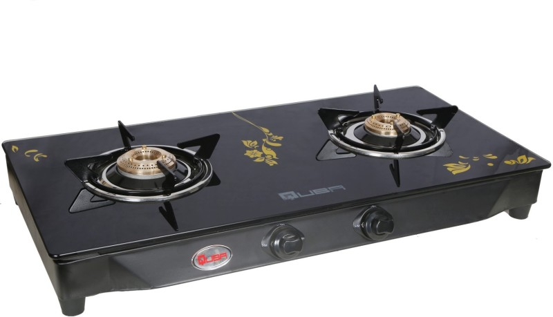 Quba B2 Golden Flower Rectangle Manual Digital Glass Stainless Steel Manual Gas Stove(2 Burners)