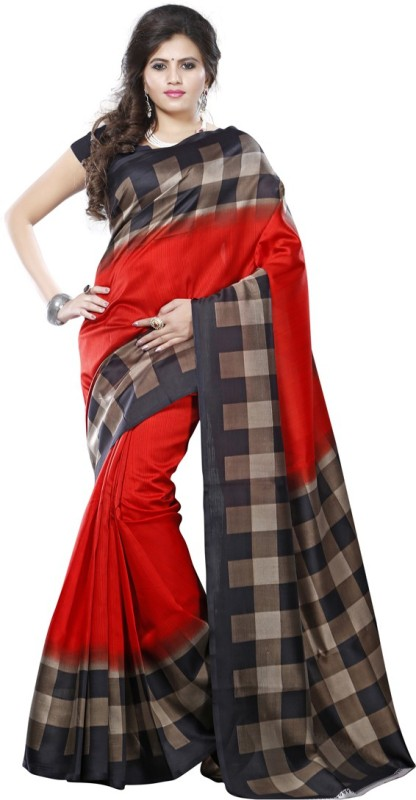 Saara Solid, Geometric Print, Printed Daily Wear Cotton, Silk Saree(Multicolor)