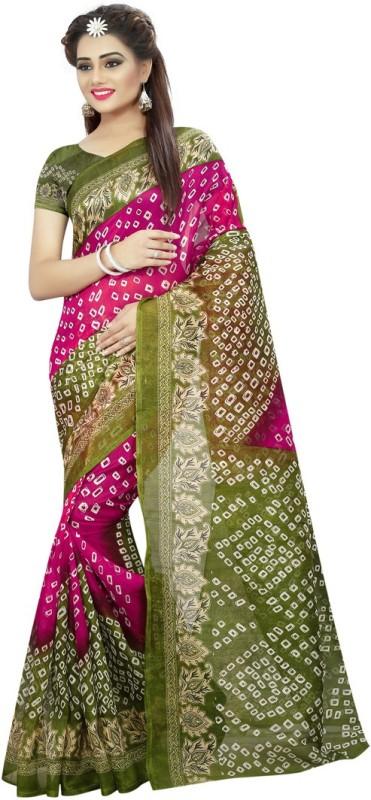 Saara Self Design, Printed Bandhani Art Silk Saree(Green, Pink)