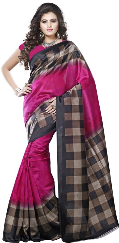 Saara Solid, Geometric Print, Printed Daily Wear Cotton, Silk Saree(Multicolor)