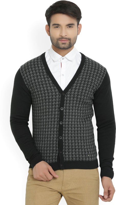 Arrow New York Houndstooth V-neck Casual Men Black Sweater