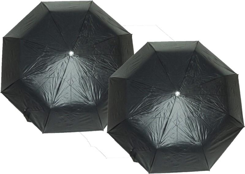 K.C Paul 2 Fold Raj pack of 2 Umbrella(Black)