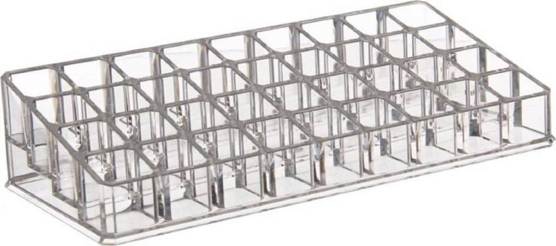 Sukot 36 Case Clear Acrylic Lipstick Organizer Cosmetic Storage Box For Lip Gloss Lipstick With 36 Storage Compartments Organizer Vanity Box(Clear Transparent)