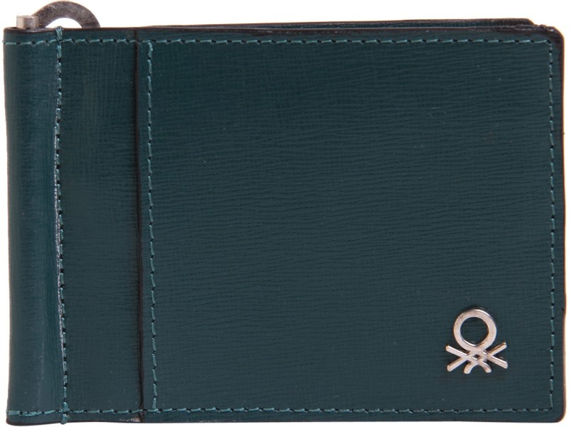 United Colors of Benetton Men Green Genuine Leather Money Clip(6 Card Slots)